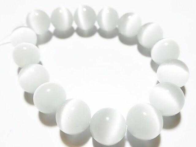 天然石★キャッツアイ(ホワイト)12mm 半連