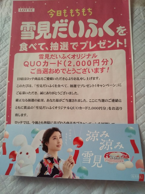 雪見だいふくオリジナルクオカード2千円分(土屋太鳳)  < タレントグッズの