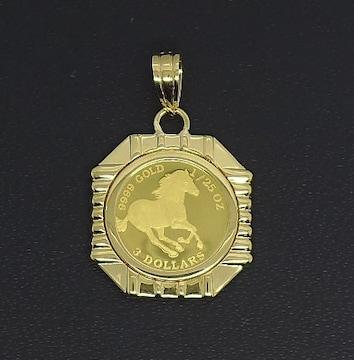 【新品未使用】K24 ペンダント ホースコイン ゴールド