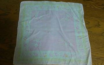 ピンク ハンカチ 38 花柄 美品