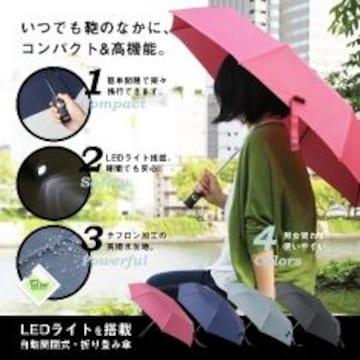 ワンタッチ開閉式LEDライト付♪グラスファイバー折り畳み傘 収納袋付 グレー