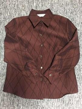 光沢のある赤茶 斜めチェック シャツ型ジャケット 長袖 日本製