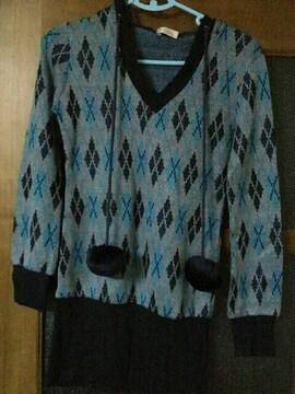 used/美品☆パーカーワンピース☆アーガイル柄ブルー系