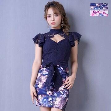 フラワープリント リボンセットアップミニドレス 衣装 パーティー キャバ チャムドレス