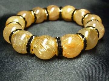 最高級の天然石ブレスレット!!!ゴールドタイチンルチル16ミリ数珠パワー
