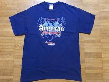 即決USA古着●鮮やかデザインTシャツ紺!アメカジ・ヴィンテージ・レア