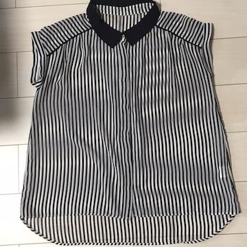 ストライプ袖なしシャツ☆黒×白☆半袖カットソー☆チェニック