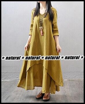 新作★大きいサイズ2L 綺麗な裾ティアード フレアワンピ*マスタード