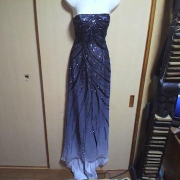 Bicici高級 ビーズ&スパン 黒グラデーション 編み上げベアロングドレス