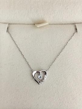 4℃ ダイヤモンド×アクアマリン ネックレス K10WG 1.2g