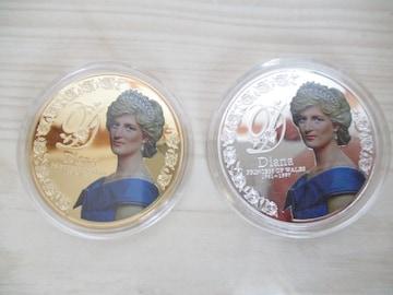 イギリス・ダイアナ妃記念カラー5ポンド金貨銀貨の2枚