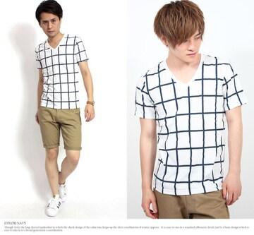 メンズ チェック柄 Tシャツ M