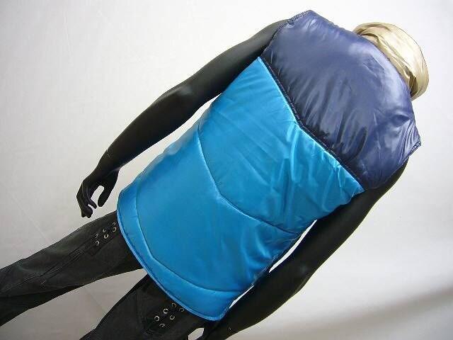 特価 クレイジー配色中綿ダウンベスト ブルー M [89913100] < 男性ファッションの