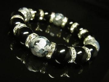 銀彫皇帝龍龍紋石ドラゴンアゲート×ブラックオニキスブレスレット 12ミリ数珠