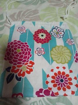 ☆新柄白×若緑矢絣大花和柄ナナメ掛巾着袋