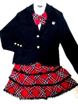 リボン/ブローチ付 女の子スーツ 3点セット 165