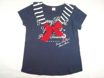 半額以下処分メゾピアノJr取り外しOKセーラーカラーロゴ入り半袖Tシャツ