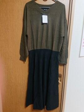 INDIVIカーキ黒長袖ウール混ニットワンピースセーター大きいサイズ4213号15号