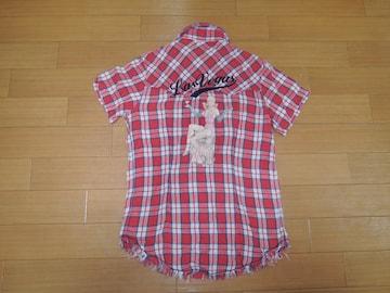 TMT ガーゼ チェックシャツ S赤 ウエスタン 刺繍ステッチ 半袖