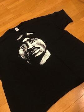 Hiphop 2pac トゥーパック  黒ブラック  size2XL  XXL