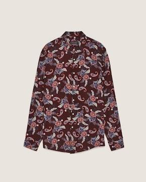 ☆ZARA/ザラ リーフ柄 レーヨンシャツ/長袖シャツ/メンズ/S☆新品