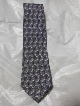 ピエール・バルマン ネクタイ/薄いグレーと紫、白のシックな柄/美品
