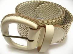 本革ホワイトメッシュ編み込みワイドデザイン長さ自由調節の極上お洒落ベルト