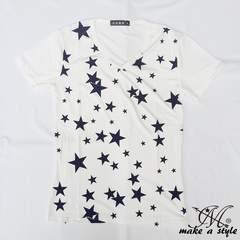 スター Vネック Tシャツ TEE 半袖 白 星 STARS 総柄 68M