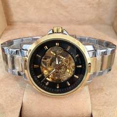 送料無料★100m防水スケルトンメンズ自動巻き腕時計・ブラック×コンビ