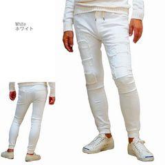 新品/ジョガーパンツ スーパーストレッチ デニム (XL)ホワイト