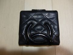 CHANEL シャネル カンボンライン がま口の二つ折り財布