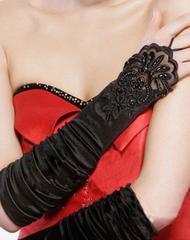 ♪7058ビジュー&刺繍付きサテンのグローブ黒