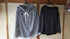 大きいサイズ ブラウン系 チェック&光沢素材膝丈スカート