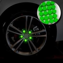 蓄光19mmナットカバー20個セット シリコン ホイール緑