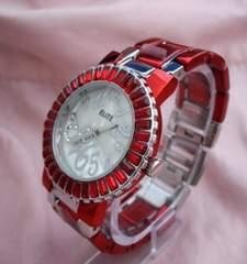 ラウンドフェイスラインストーン腕時計RD-ブレスウォッチ