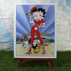 新品【ブリキ看板】Betty Boop/ベティ・ブープ Diner -Red-