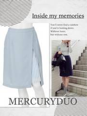 定価8500円【新品】MERCURYDUOラップ風プリーツスリットスカート