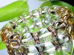 パワーストーン☆天然石!!水晶12ミリ金ロンデル数珠ブレスレット§浄化・能力開花