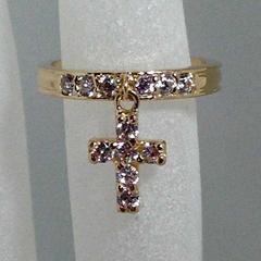 ◇美品【Star Jewelry】クロスリング K14YG 3.10g #9◇