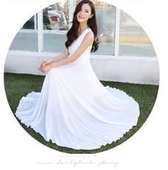 マキシワンピ・シフォンワンピース・白ワンピース・体型隠し 白