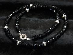 ダイヤのような輝き ブラックスピネルネックレス 8ミリ天然石数珠