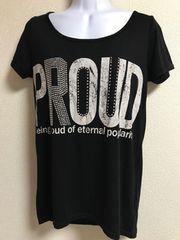 ★culots 黒×ラインストーン付 Tシャツ  M★