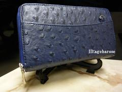 【新品】オーストリッチ型押し Wファスナー長財布 合皮 ブルー