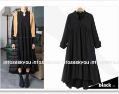 4L大きいサイズ/裾フレア〜ロングシャツワンピース4