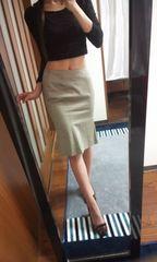 ギャルズビルベージュひざ丈タイトスカート