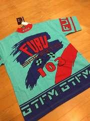 FUBU sports  フブ  総柄Tシャツ  sizeL→XL  スカイブルー