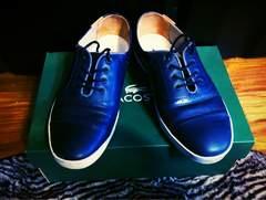 美品ラコステLACOSTEスニーカー6シューズ靴ネイビー紺ビジネス