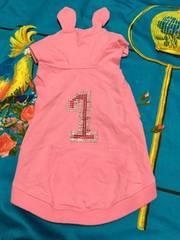 9 .4号 ピンクシャツ ラインストーン うさ耳 ワンチャン