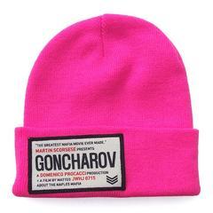帽子♪GONCHAROV ワッペン付き ニット帽 キャップ*ピンク*