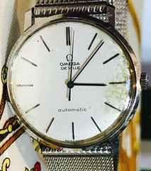 オメガデビルメンズ時計自動巻式シルバーブレス稼働品
